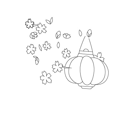 How to draw Lunar New Year greeting card with blossoms - Step 2