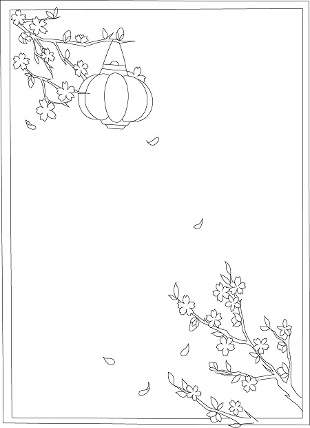 How to draw Lunar New Year greeting card with blossoms - Step 4
