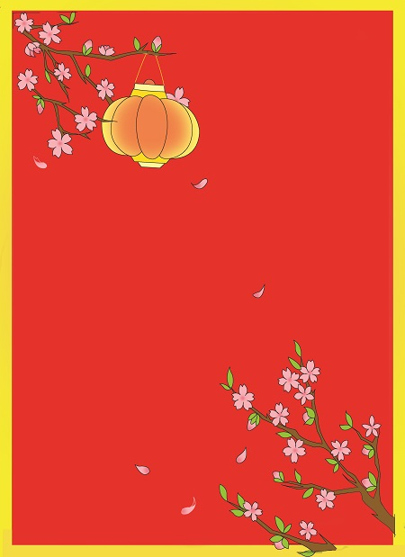 How to draw Lunar New Year greeting card with blossoms - Step 5