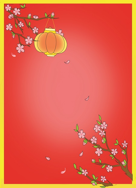 How to draw Lunar New Year greeting card with blossoms - Step 6