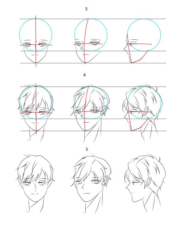 Cách vẽ mặt nhân vật anime nam- Ảnh 2