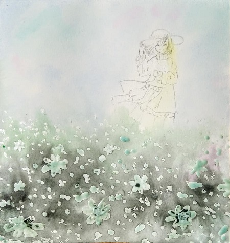 Watercolor painting step by step - Girl in the flower field - Image 2