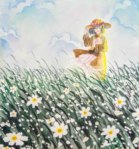 Step by step - Vẽ cánh đồng hoa - Ảnh 5