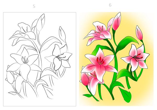 Cách vẽ hoa ly chỉ với vài bước đơn giản - Ảnh 2