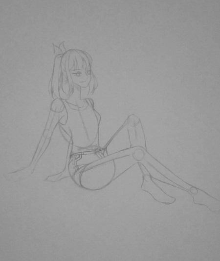 Vẽ màu nước - cô gái trong tư thế ngồi - Ảnh 3