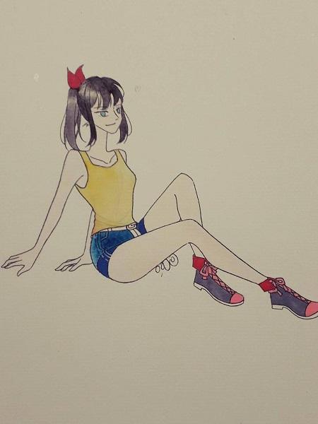 Vẽ màu nước - cô gái trong tư thế ngồi - Ảnh 5