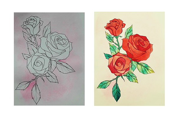 Watercolor painting step by step - How to draw roses - Image 4
