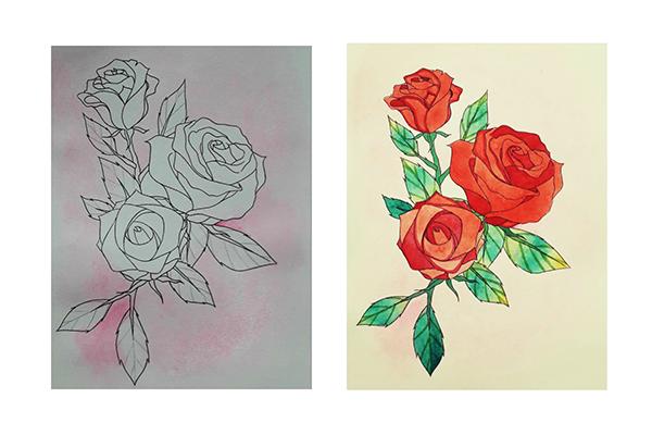 Hướng dẫn vẽ hoa hồng đẹp chỉ với 10 bước đơn giản - Ảnh 4